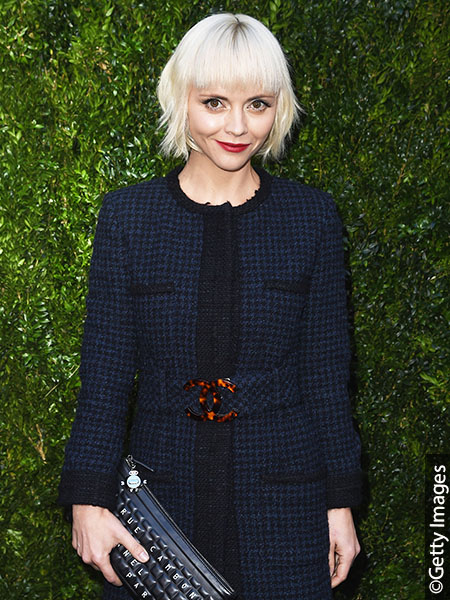Christina Ricci with icy blonde Bob